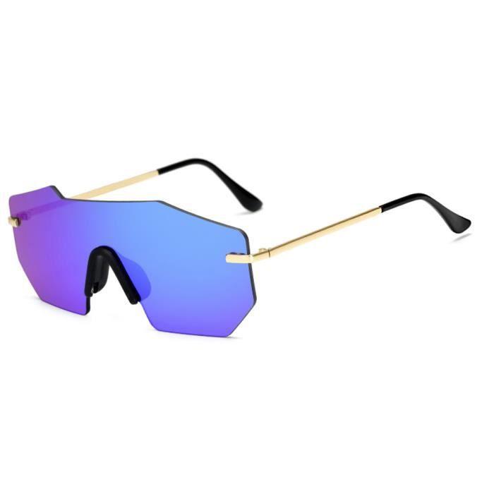 Mode unisexe Vintage verres irréguliers mode Aviator lunettes de soleil miroir BLEU