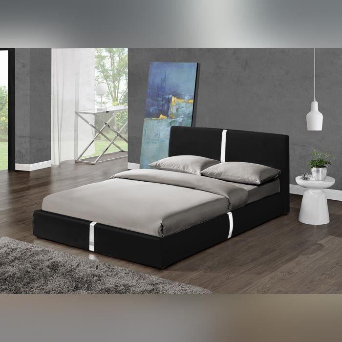 Lit Design Noir Ulysse 160 cm - modèle moderne et top confort ...