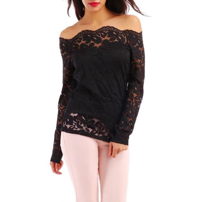 2bba93fa0c25d Top dentelle noir manches longues Noir Noir - Achat   Vente t-shirt ...