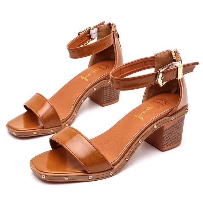 OLALI® D'été Mode Casual Carré Boucle Sangle Sandales