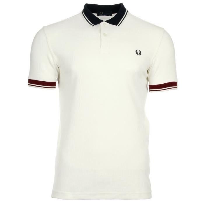 Polo Fred Perry Ribbed Trim Pique Shirt Snow White Blanc Blanc ... 22123f69a506