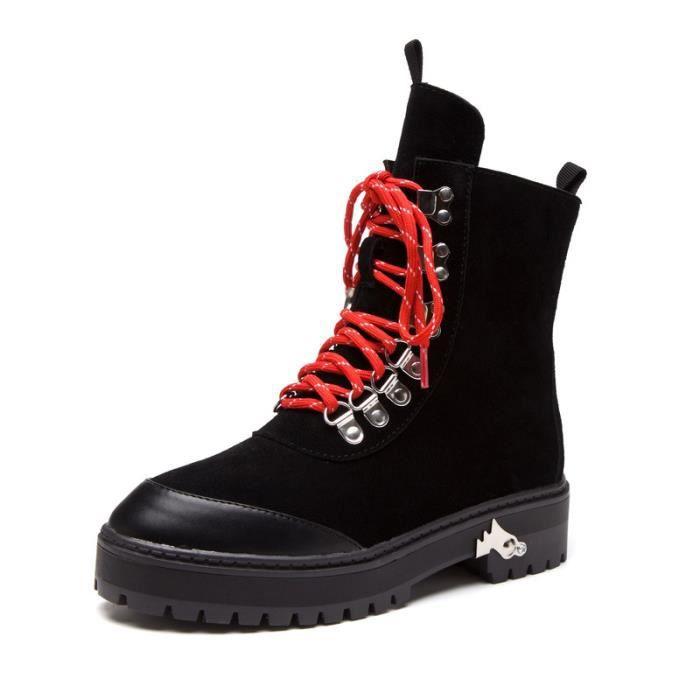 Chaussures femme Bottes mode Bottes avec coton Bottes hiver Chaussures chaudement Chaussures montantes Chaussures confortables