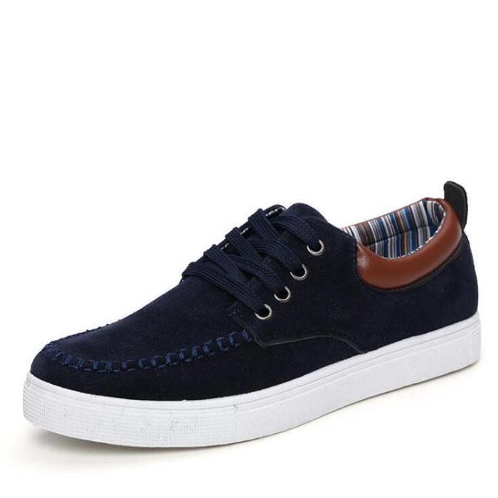 Chaussure Homme Qualité Supérieure Mode Style Classique En Cuir Daim Patchwork Marque Mocassins Occasionnels Étudiant Taille 39