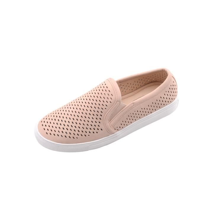 Emily) Canvas Slip On Laser Cut Fashion Sneakers , XUZHR Taille-36 1-2