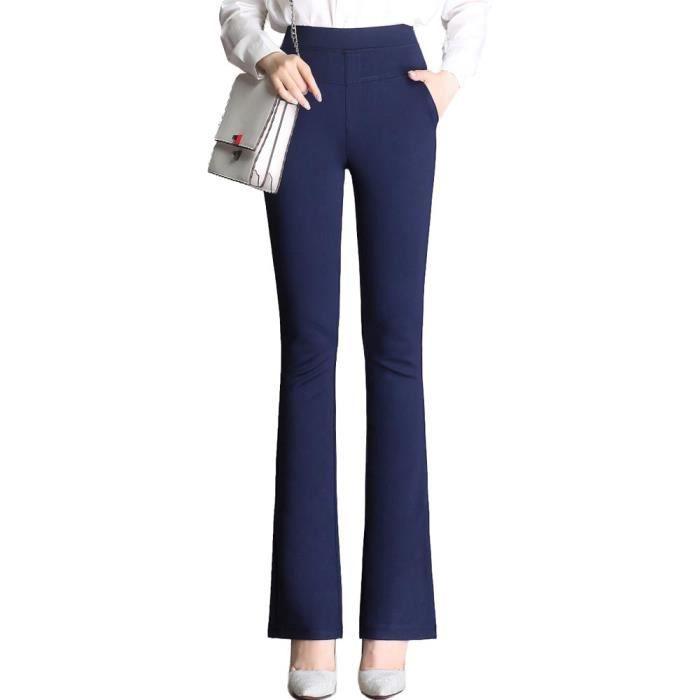 pas cher pour réduction 9689e 9c9d1 Pantalon Femme Extensible Coupe Évasée Taille Haute Pantalon Stretch  Business Couleur Unie