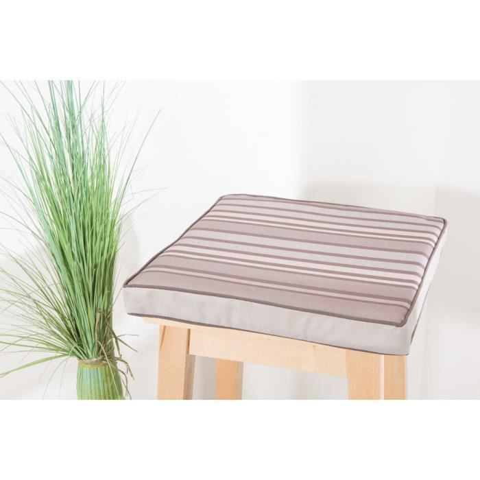 Galette De Chaise Impermeable 38 X 4 Cm A Rayures Taupe