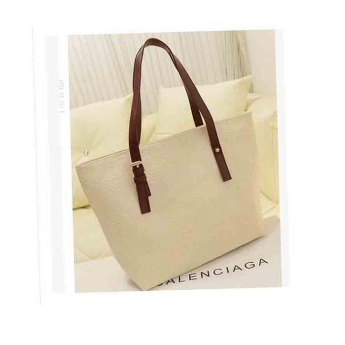 Blanc Sac à Main Grand dessins inscription sur carapace en PU gaufrage Porté Shopping Fourre-tout Cabas Femme sac à bandoulière