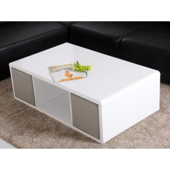 Table basse TERESA - 4 poufs encastrables - MDF laqué blanc ...