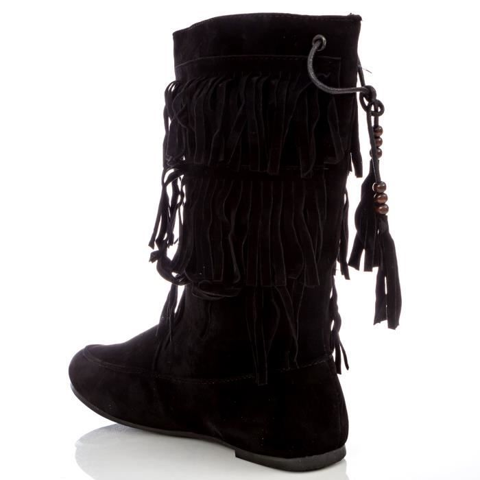 Girl's Slip-on Three-layer Fringe Boot With Beaded Tassels QOR5H Taille-40