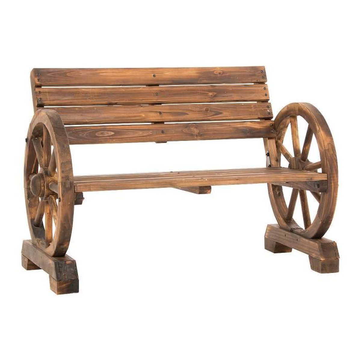 Pureday banc de jardin roue de chariot achat vente for Banc de jardin occasion