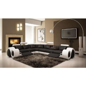 CANAPÉ - SOFA - DIVAN Canapé d'angle design cuir noir et blanc + positio