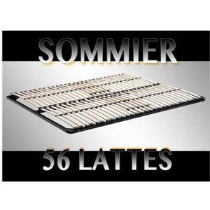 SOMMIER Sommier à lattes 160x200 Résistant acier et bois F