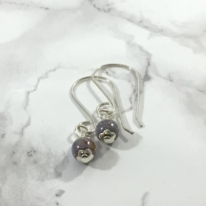 Dainty Femmes Lilas Boucles doreilles en perles JIVC7