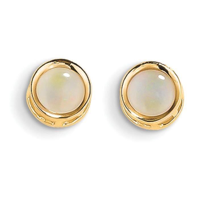 14 carats - 5 mm-Encadrement créé Opal-Boucles doreille clous