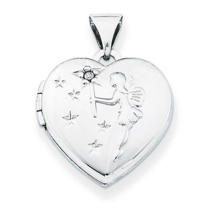 Argent Sterling diamant coeur 15 mm avec médaillon-Fairy Wishes