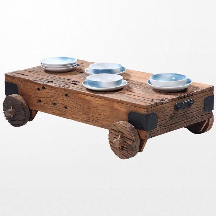 Table basse en bois a roulettes achat vente pas cher - Table basse en bois pas cher ...