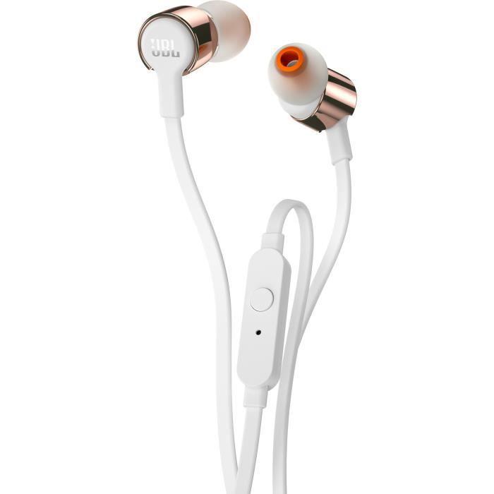 Jbl T210 Écouteurs Intra-auriculaires - Son Pure Bass Micro Intégré Câble Plat Sans Nœud Rose Doré