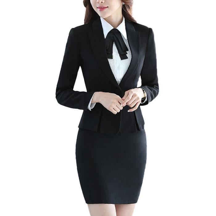 femmes travail blazer jupe de bureau tailleur revers casual costume manteau noir 42 marque 4xl. Black Bedroom Furniture Sets. Home Design Ideas