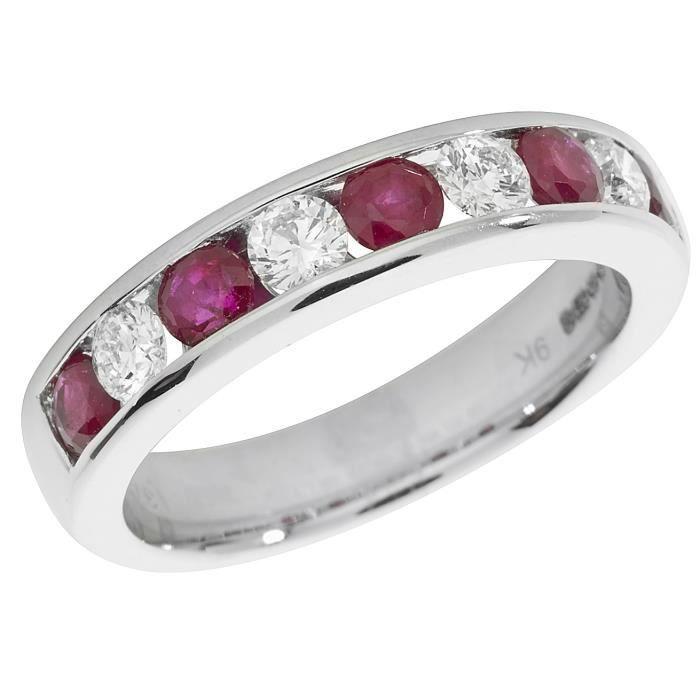 Bague Femme Semi Pavée Or Blanc 375-1000 et Diamant Brillant 0.50 Carat HI - I1 avec Rubis