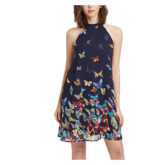 Floral multicolore Printed Bouton Fendue sur le Flare Devant De Plage Robe Vêtements Boho Maxi Femmes à manches Courtes V Robe