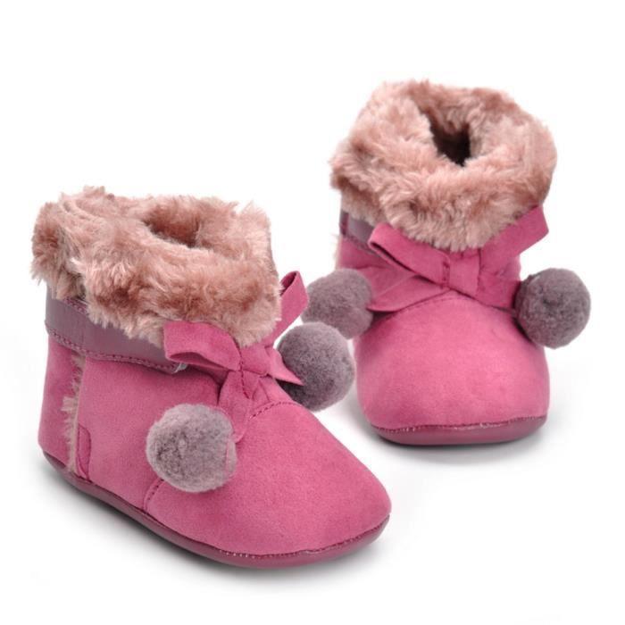d27cd323570ee Revesaleer®Bébé nouveau-né fille bowknot ball berceau bottes semelle douce  prémarcheur chaussures chaudes Rose vif