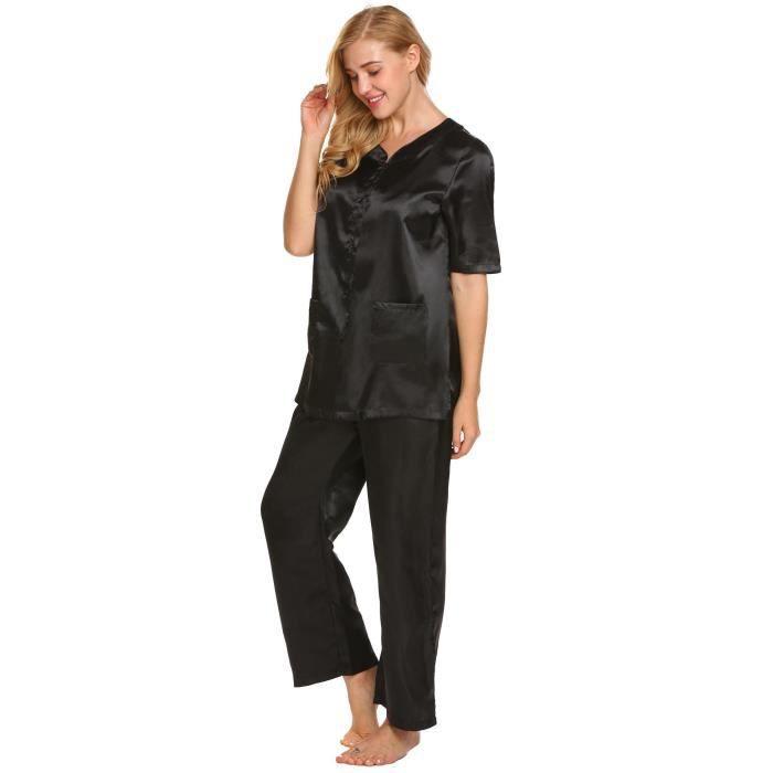 Noir Femme Paris Satin Pyjama Satin Paris Noir Pyjama Femme tCxrshdQ
