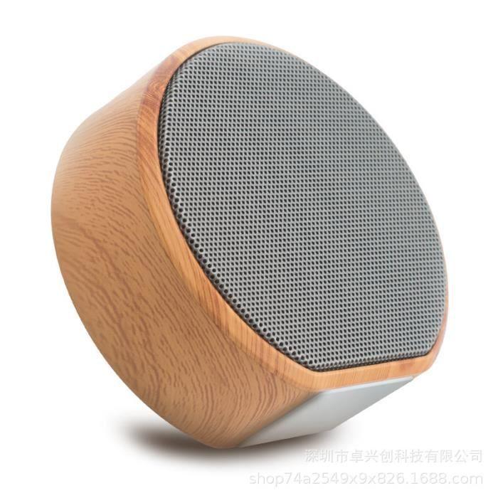 Haut-parleur Bluetooth Mini Carte Subwoofer En Bois Grain Sans Fil Portable De Voiture Plein Air Téléphone