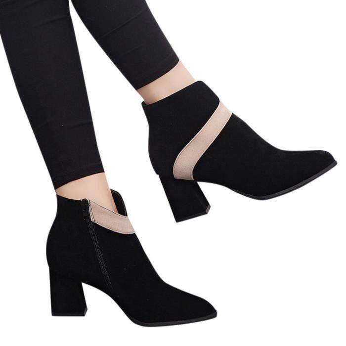 Femme Chaussures Dames Flock Haut Couleur Beige De Martin Bottes Short Mixte La Talon Les q7xdatt