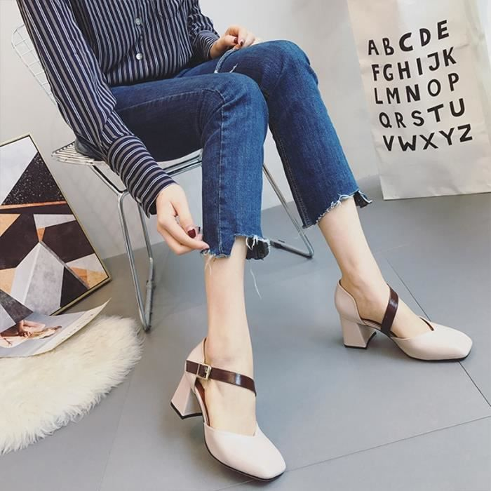 Mode New doux Femmes bout rond Casual Boucle Flats Strap Mary Jane Cross Filles Ballerines Chaussures