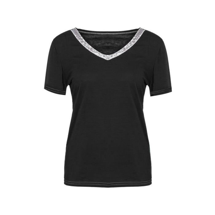 Femmes Chemisier Courtes shirt4835 Manches Sexy T Tops Paillettes V Casual Col 45jL3RA