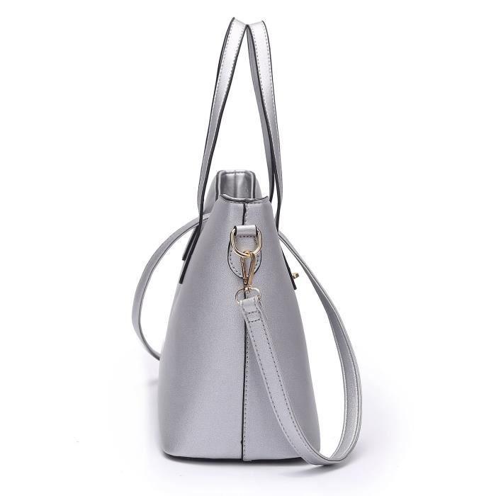 Mode Pu Sac à main en cuir + sac à bandoulière + sac + porte-cartes 4pcs Set fourre-tout WALTC