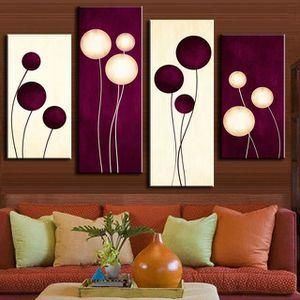 TABLEAU - TOILE 4 pics Résumé Purple Balloon Flower Peinture Toile