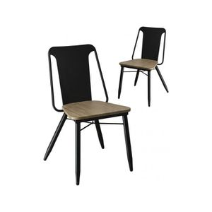 CHAISE Lot De 2 Chaises Design Industriel Assise En Bois