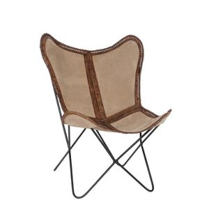 FAUTEUIL Chaise Lounge - Canvas Cuir beige et marron - Vint