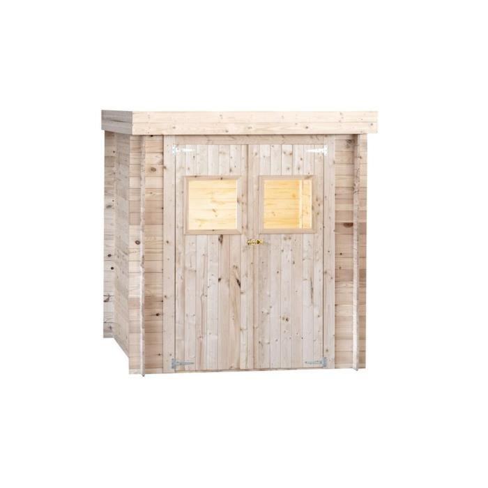 Abri de jardin en bois 19 mm - Avec toit plat - 180 x 130 cm - 2,34m²