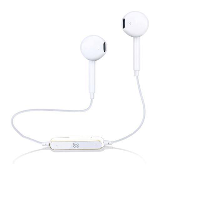 OREILLETTE BLUETOOTH Blanc Casque stéréo sans fil de casque d'écouteur
