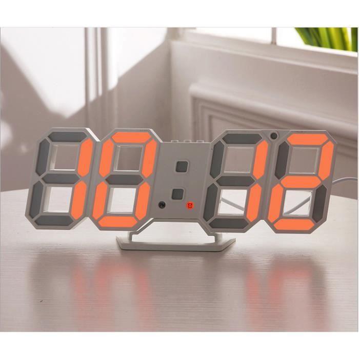 3d Alarm Réveil Led Numérique Horloge Mural Électronique Usb Sans Fil À Affichage De Bureau L'heure Maison Orange