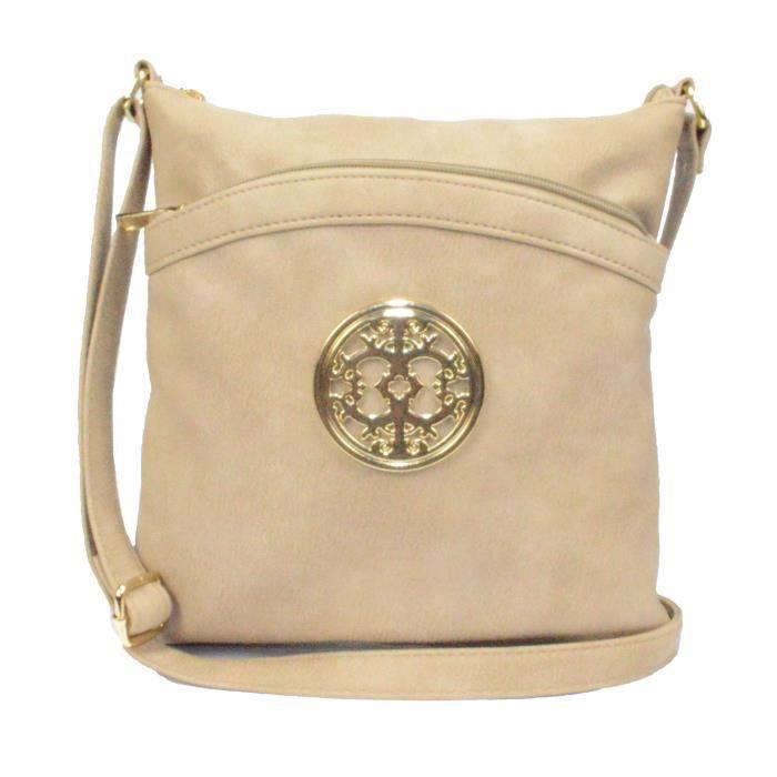 Faux cuir souple bandoulière sac à main avec emblème pour les femmes, Vintage School Book Bag U5VHN
