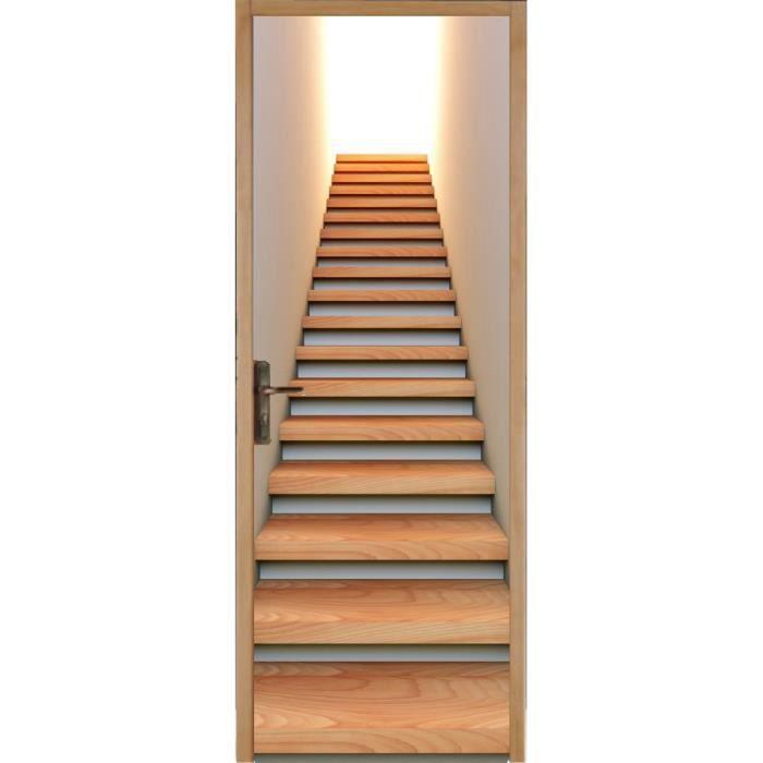 Papier peint porte déco - Montée d escalier Dimensions - 83x204cm ...