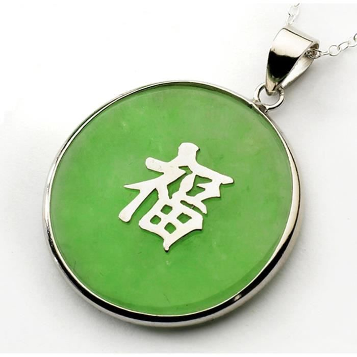 Collier avec pendentif rond motif caractère chinois pour «chance» - jade/argent - 45 cm - vert