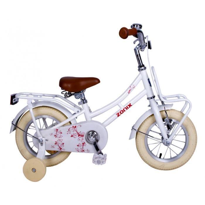 Vélo Fille Zonix 12 Pouces Frein à Rétropédalage et Stabilisateurs Amovibles  Blanc 85% Assemblé 1fde07b56205