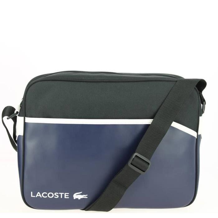 Sac bandoulière bleu et noir LACOSTE Airline Bag 38,0 (L) x 29,0 (H) x 10,0  (E) cm Bleu Marine 2ce3757da17