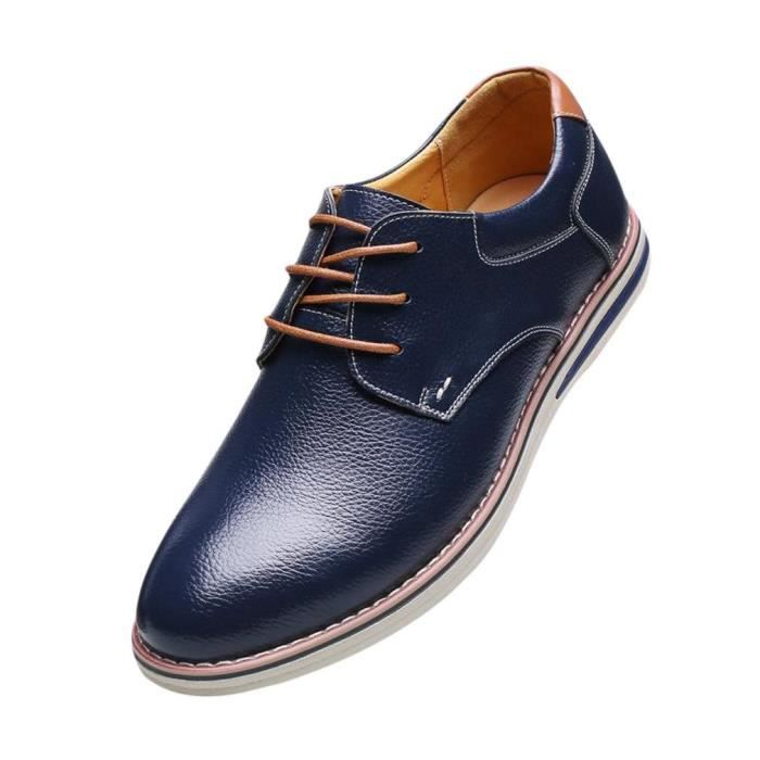 4813e1adde90fc EOZY Derby Homme Chaussure en Cuir Habillé Soul... Bleu - Achat ...