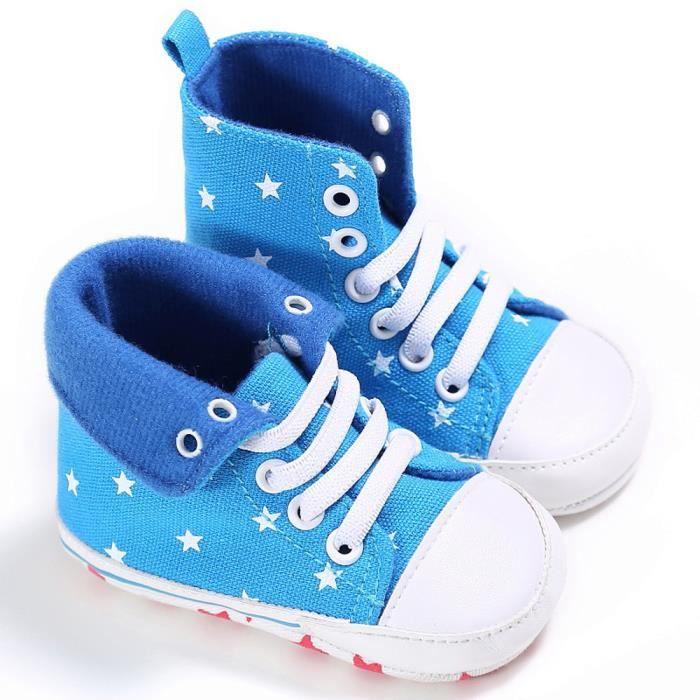 Frankmall®Bébé mignon chaussures lit Slip chaussures confort Toile haut-Tops chaussures molles BLEU CLAIR#WQQ0926235 5AjF4