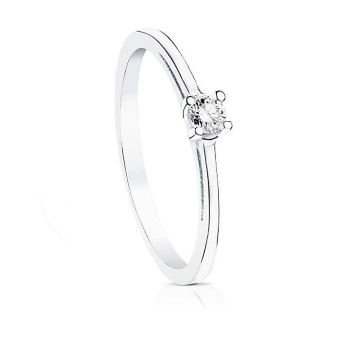 Bague solitaire Or blanc 18 carats 0.10ct diamant brillant commandé [AA7297] - Taille: 56