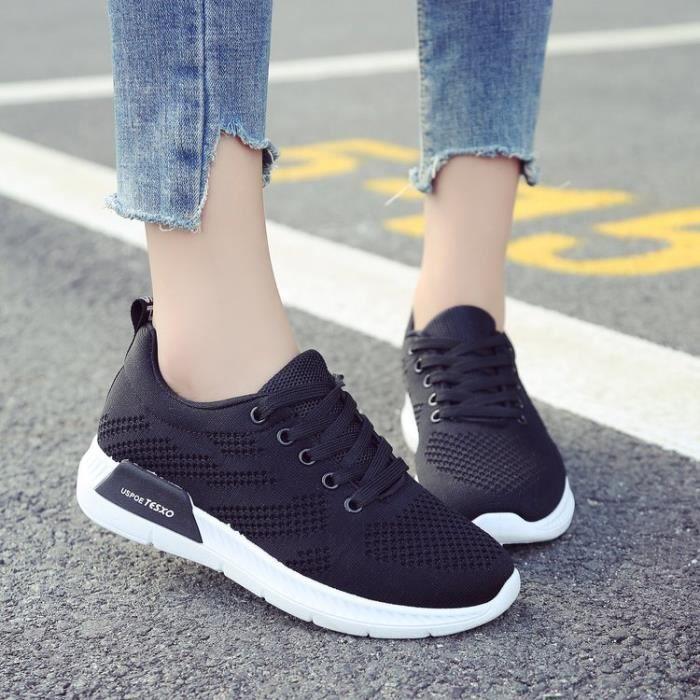 b182a058020df Chaussures femme basket femme sneakers women runing shoes Noir Noir ...
