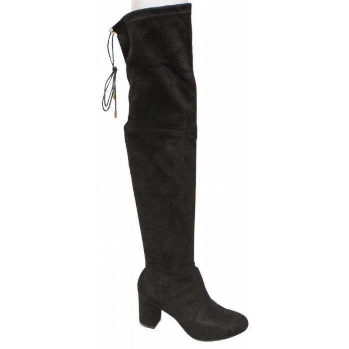 Natural Breeze Bonita-02 Block Heel Thigh High Leg-lengthening Soft Shaft Tie Back Suede Boots A4GF7 Taille-39
