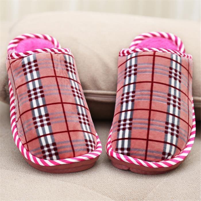 Chaussons Femme Géométrique Treillis Peluche courte Pantoufles Hiver Série à domicile Confortable chaussure Plus Taille 37-41