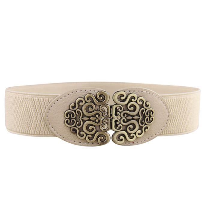 a7352fc0079e Courroies de ceinture en cuir vintage en alliage fleur pour femmes Beige  HMH632