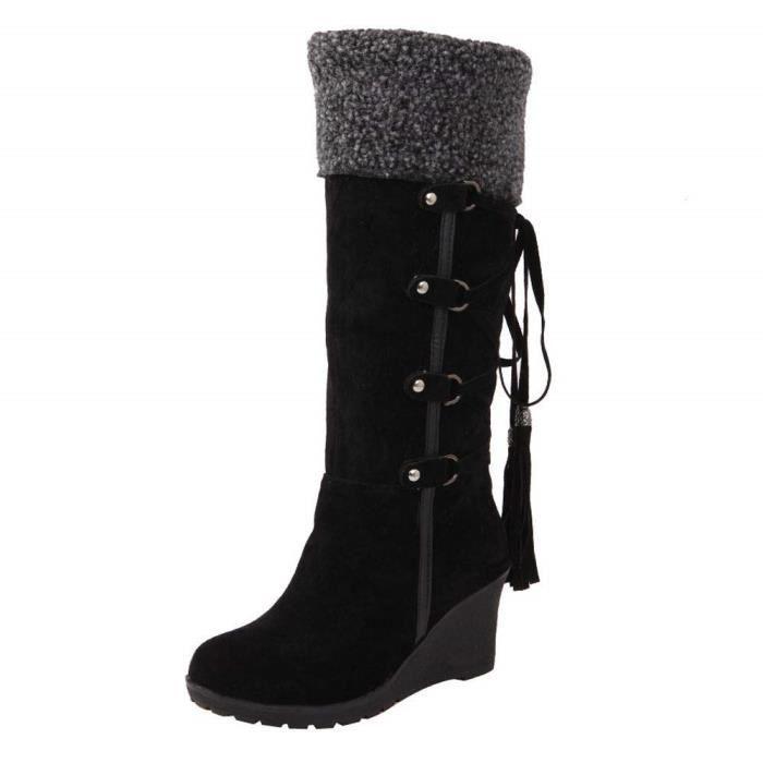 Chaussures 2018 remise spéciale 100% de haute qualité Bottes Boot Long Femme Botte De Paille Go Tendance Bottine Chaussure Sport  AprèS Le PonçAge avec des Glands Bottes Hautes Manches